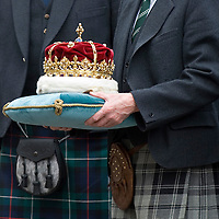 The lavish state ceremonial event started with the ancient crown of Scotland being taken in procession down Edinburgh's Royal Mile.The crown, first worn by the infant Mary Queen of Scots, was placed in the Parliament debating chamber for the main event..Queen Elizabeth II and the Duke of Edinburgh made history today at the opening of the Third Session of the Scottish Parliament in Edinburgh, 30th Jun 2007