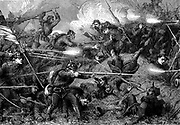 Franco-Prussian War 1870-1871: Battle of St Quentin, January 1871.  Hand-to-hand fighting between French (right) and Prussian (left) troops.  Wood engraving c1880.
