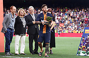 Lionel Messi of FC Barcelona with the trophy during the Joan Gamper trophy game between FC Barcelona and CA Boca Juniors in Camp Nou Stadium at Barcelona, on 15 of August of 2018, Spain, Photo Pressinphoto / Pro Shots / ProSportsImages / DPPI