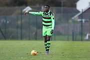 Forest Green Rovers Manny Monthe(6) on the ball during the The Central League match between Cheltenham Town Reserves and Forest Green Rovers Reserves at The Energy Check Training Ground, Cheltenham, United Kingdom on 28 November 2017. Photo by Shane Healey.