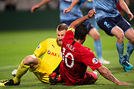 SYDNEY, AUSTRALIA - APRIL 10: Shanghai SIPG FC player Hulk (10) and Sydney FC player Andrew Redmayne (1) come together at The AFC Champions League football game between Sydney FC and Shanghai SIPG FC on April 10, 2019, at Netstrata Jubilee Stadium in Sydney, Australia. (Photo by Speed Media/Icon Sportswire)
