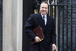 London, UK. 29th January, 2019. Matt Hancock MP, Secretary of State for Health and Social Care, leaves 10 Downing Street following a Cabinet meeting on the day of votes in the House of Commons on amendments to Prime Minister Theresa May's final Brexit withdrawal agreement which could determine the content of the next stage of negotiations with the European Union.