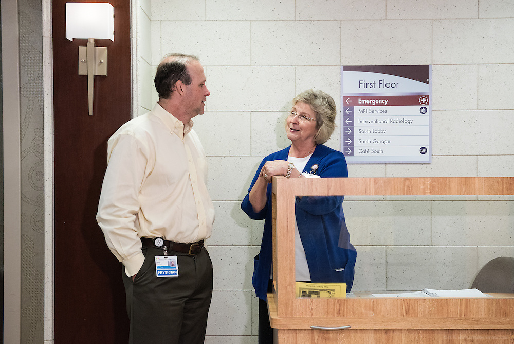 Dr. James Winkley and first floor volunteer Ann Stewart, photographed Thursday, May 21, 2015 at Baptist Health in Lexington, Ky. (Photo by Brian Bohannon/Videobred for Baptist Health)