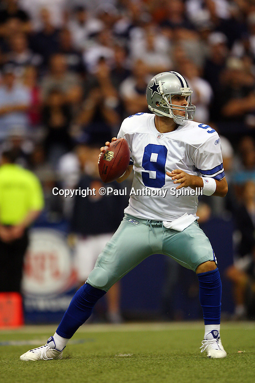 IRVING, TX - SEPTEMBER 15:  Quarterback Tony Romo #9 of the Dallas Cowboys drops back to pass during the game against the Philadelphia Eagles at Texas Stadium on September 15, 2008 in Irving, Texas. The Cowboys defeated the Eagles 41-37. ©Paul Anthony Spinelli *** Local Caption *** Tony Romo