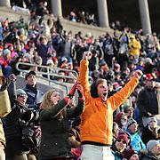 Fans react during the Harvard Vs Yale, College Football, Ivy League deciding game, Harvard Stadium, Boston, Massachusetts, USA. 22nd November 2014. Photo Tim Clayton