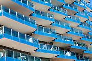 Balconies of apartments Ocean Village apartment block, Gibraltar, British overseas territory