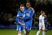 Goalscorer Peterborough Utd midfielder George Cooper (19) celebrates his goal 2-0 with Peterborough Utd forward Ivan Toney (17) during the EFL Sky Bet League 1 match between Peterborough United and Rochdale at London Road, Peterborough, England on 12 January 2019.