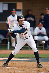 Virginia Cavaliers infielder Patrick Wingfield (8) at bat against Duke.  The Virginia Cavaliers Baseball team fell to the Duke Blue Devils 13-9 in the second of a three game series at Davenport Field in Charlottesville, VA on April 7, 2007.