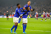 Goal Leicester City defender Ricardo Pereira (21) scores a goal and celebrates 2-0 during the Premier League match between Leicester City and West Ham United at the King Power Stadium, Leicester, England on 22 January 2020.