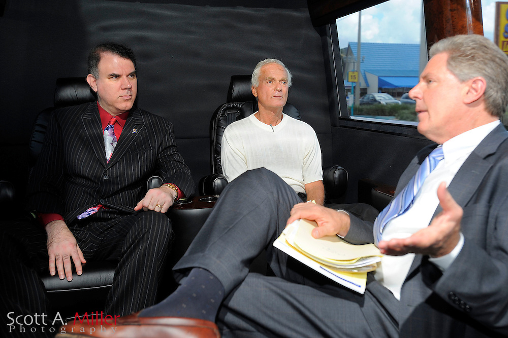 ORLANDO, FLORIDA, August 20, 2009 : U.S. Rep. Alan Grayson (D-Fl), Harris Rosen  and U.S. Rep. Frank Pallone Jr. (D-N.J.) in their bus after visiting the Rosen employee health care facility. The trip was part of a health care forum at Rosen Shingle Creek Resort in Orlando, Fla..© 2009 Scott A. Miller