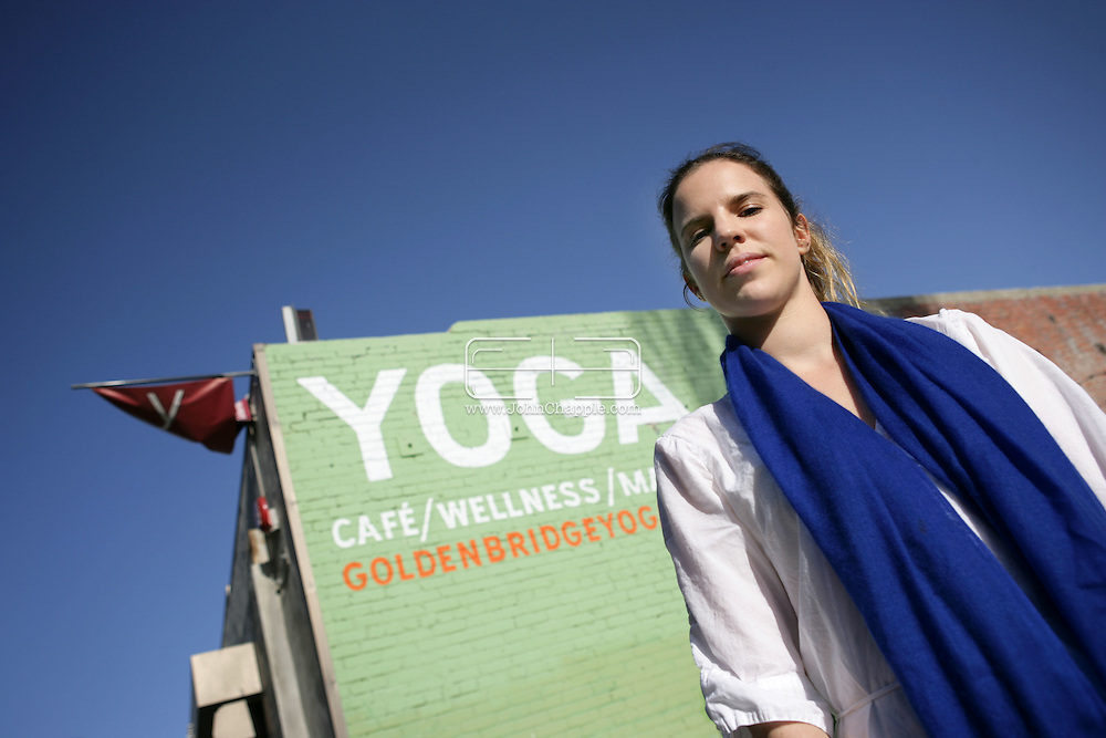 25th April 2009. Los Angeles, California. Yoga instructor Alexandra Aitken, daughter of  British government minister Jonathan Aitken, who was convicted of perjury in 1999.© JOHN CHAPPLE / REBEL IMAGES.john@chapple.biz    (001) 310 570 9100