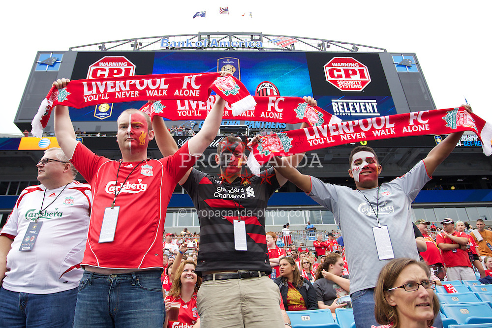 CHARLOTTE, USA - Saturday, August 2, 2014: Liverpool supporters before the International Champions Cup Group B match against AC Milan at the Bank of America Stadium on day thirteen of the club's USA Tour. (Pic by Mark Davison/Propaganda)