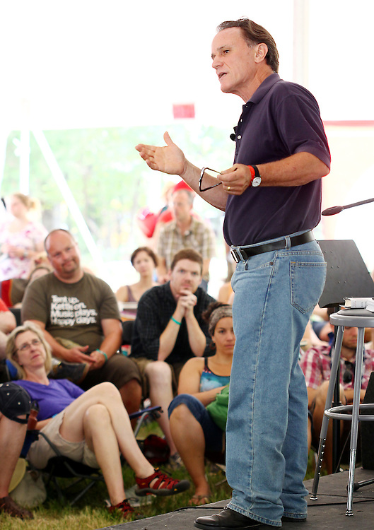Author Frank Schaeffer speaks about worshiping God and not the Bible at the Wild Goose Festival at Shakori Hills in North Carolina June 25, 2011.  (Photo by Courtney Perry)