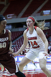 01 November 2017: Sabrina Clay guarded by Megan Talbot during a Exhibition College Women's Basketball game between Illinois State University Redbirds the Red Devils of Eureka College at Redbird Arena in Normal Illinois.