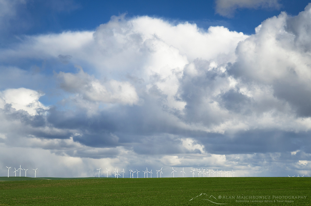 Dramatic clouds over wind turbines on the Columbia Plateau Oregon