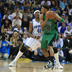 11 February 2009: New Orleans Hornets forward James Posey (41) defends Boston Celtics forward Paul Pierce (34) during a 89-77 loss by the New Orleans Hornets to the Boston Celtics at the New Orleans Arena in New Orleans, LA.