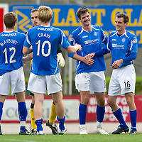 St Johnstone v Hearts...25.09.11   SPL Week 9<br /> All smiles on th face of Cillian Sheridan at full time as he celebrates with David Robertson<br /> Picture by Graeme Hart.<br /> Copyright Perthshire Picture Agency<br /> Tel: 01738 623350  Mobile: 07990 594431