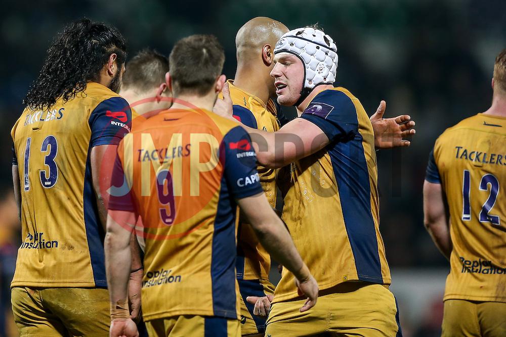 Tom Varndell of Bristol Rugby celebrates scoring his 3rd try of the game  - Rogan Thomson/JMP - 16/12/2016 - RUGBY UNION - Stade du Hameau - Pau, France - Pau v Bristol Rugby - EPCR Challenge Cup.