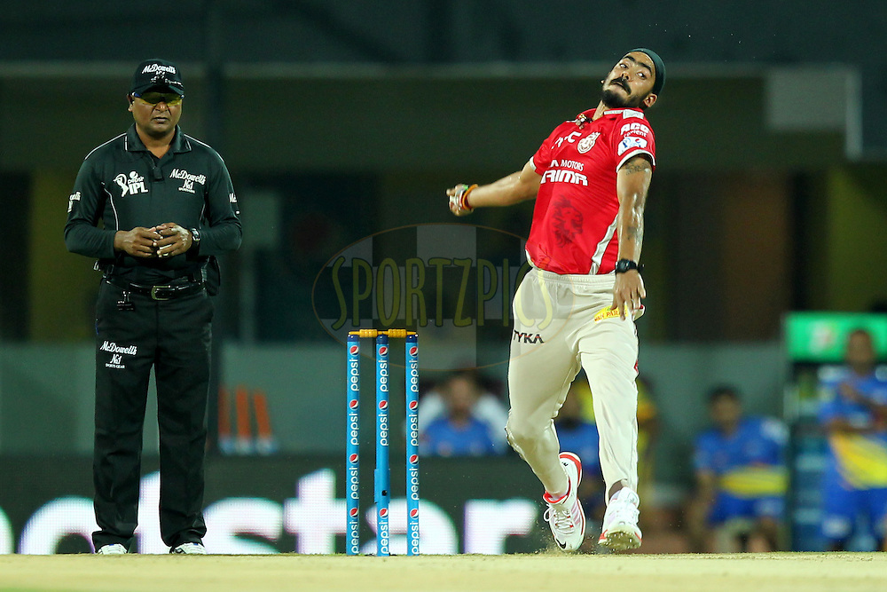 Anureet Singh of Kings XI Punjab bowls during match 24 of the Pepsi IPL 2015 (Indian Premier League) between The Chennai Superkings and The Kings XI Punjab held at the M. A. Chidambaram Stadium, Chennai Stadium in Chennai, India on the 25th April 2015.Photo by:  Prashant Bhoot / SPORTZPICS / IPL