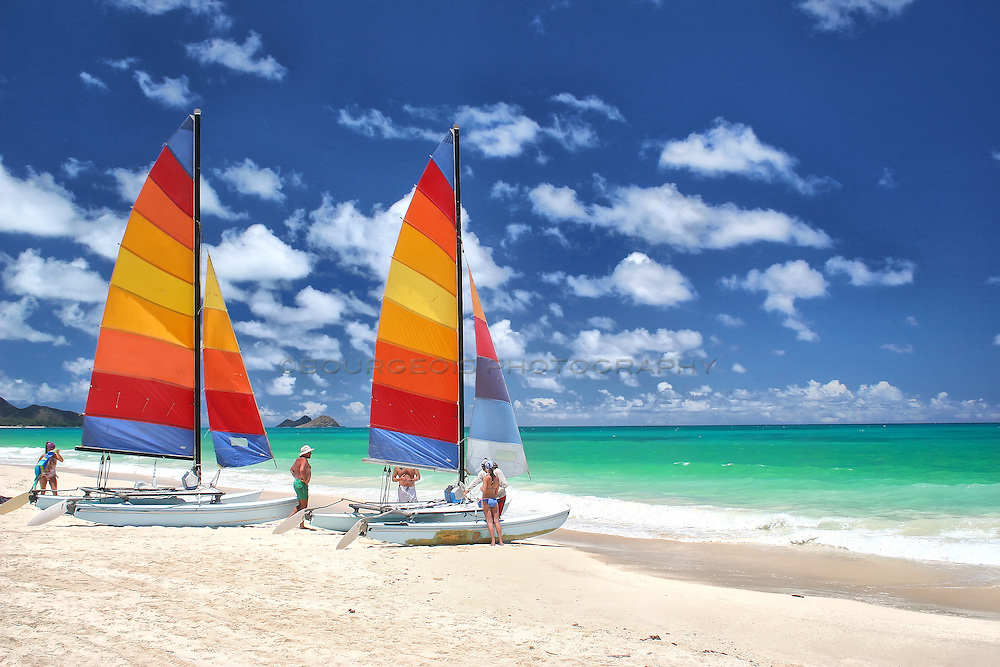 Sailboats prepare for a take off from the most beautiful beach in the world in Maui, Hawaii