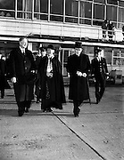 "Archbishop Godfrey leaving for London - for Catholic Herald .05/12/1958 ..William Godfrey (1889-1963) was an English Cardinal of the Roman Catholic Church. He served as Archbishop of Westminster from 1956 until his death, and was elevated to the cardinalate in 1958..William Godfrey was born in Liverpool to George and Mary Godfrey. His father was a haulage contractor. He leaned towards the priesthood from an early age, never taking another career into serious consideration. After studying at Ushaw College, Durham, and the English College, Rome, he was ordained on 28 October 1916 in Rome. He then finished his studies in 1918, obtaining his doctorates in divinity and philosophy in 1917, and did pastoral work in Liverpool until 1919. He taught Classics, Philosophy and Theology at Ushaw from 1918 to 1930, the year when he was raised to the rank of Domestic Prelate of His Holiness (28 October), with the title of monsignor, and appointed rector of the English College. At the College, the strict priest was known to his students as ""Uncle Bill"". In 1935, Godfrey was made a member of the Pontifical Commission to Malta, and he was in official attendance at the 1937 coronation of King George VI..On 21 November 1938, he was appointed Titular Bishop of Cius and first Apostolic Delegate to Great Britain, Gibraltar and Malta. Godfrey, who was the first papal representative to England since the Reformation,[4] received his episcopal consecration on the following 21 December from Cardinal Raffaele Rossi, OCD, with Archbishop Luigi Traglia and Bishop Ralph Hayes serving as co-consecrators, in the chapel of the English College. He was also chargé d'affaires of the Holy See to the Polish government-in-exile in London in 1943, and was made Archbishop of Liverpool on 10 November 1953..Pope Pius XII named Godfrey as Archbishop of Westminster, and thus the ranking prelate of the Catholic Church in England and Wales, on 3 December 1956. During his installation, Godfrey condemned Communis"