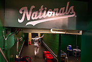 Washington Nationals' Jayson Werth celebrates as he runs into the clubhouse after scoring the game winning run against the L.A. Angles in the ninth inning at Nationals Park in Washington, D.C.