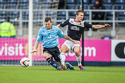 Dundee's Iain Davidson and Falkirk's Will Vaulks.<br /> Falkirk 2 v 0 Dundee, Scottish Championship game at The Falkirk Stadium.<br /> &copy; Michael Schofield.