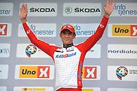 Sykkel<br /> Tour of Norway 2014<br /> Foto: Mario Stiehl/imago/Digitalsport<br /> NORWAY ONLY<br /> <br /> 25.05.2014<br /> Alexander KRISTOFF ( NOR / Team Katusha Katjuscha ) gewinnt die fünfte und letzte Etappe der Norwegen Rundfahrt 2014 und lässt sich auf dem Podium feiern<br /> <br /> Stage 5 Gjøvik til Hønefoss