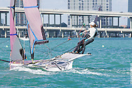 MIAMI, February 2, 2013 - A spectator-friendly tested speed and boat-handling in the high-performance 49erFX class at the 2013 ISAF World Sailing Cup in Miami.  Former Rolex Yachtwoman of the Year Anna Tunnicliffe and crew Molly Vandemoer entered the finals behind Martine Soffiati and Kahena Kunze of Brazil, who won the final race and the gold medal.