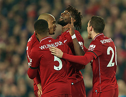 LIVERPOOL, ENGLAND - Wednesday, February 27, 2019: Liverpool's Divock Origi celebrates scoring the third goal during the FA Premier League match between Liverpool FC and Watford FC at Anfield. (Pic by Paul Greenwood/Propaganda)
