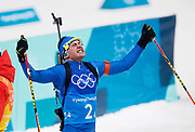 PYEONGCHANG-GUN, SOUTH KOREA - FEBRUARY 20: Dominik Windisch of Italy celebrates after finishing third during the Biathlon 2x6km Women + 2x7.5km Men Mixed Relay at Alpensia Biathlon Centre on February 20, 2018 in Pyeongchang-gun, South Korea. Foto: Nils Petter Nilsson/Ombrello                    ***BETALBILD***
