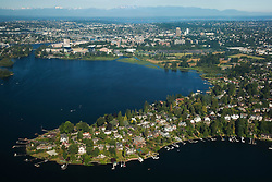 North America, United States, Washington,  Seattle, aerial view of waterfront homes of Laurelhurst neighborhood, and University of Washington