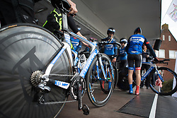 Team WNT riders arrange their bikes during Stage 2 of the Healthy Ageing Tour - a 19.6 km team time trial, starting and finishing in Baflo on April 6, 2017, in Groeningen, Netherlands.