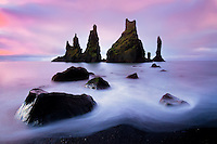 Coastal seastack formations of Reynisdrangar near Vik, Iceland