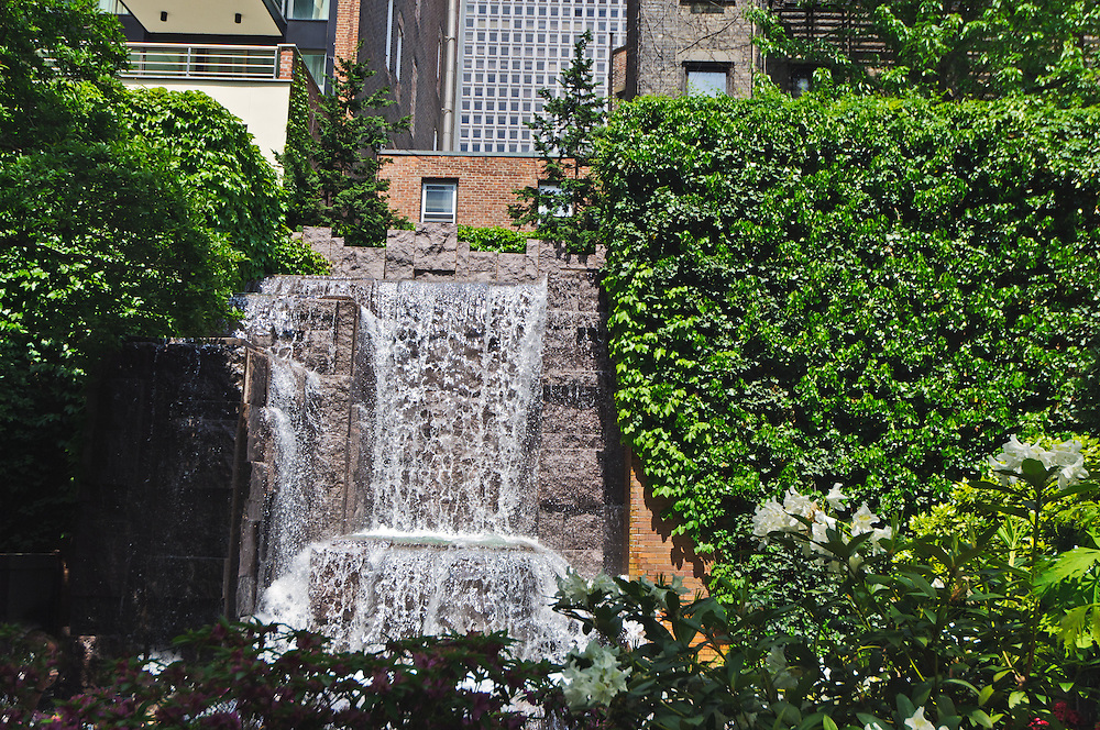 Waterfall, GreenAcre Park, between 2nd & 3rd Ave, Designes by Hideo Sasaki, New York City, Manhattan, , New York, build 1971