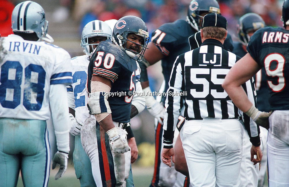 Chicago Bears linebacker Mike Singletary (50) snarls during the NFL NFC Wild Card playoff football game against the Dallas Cowboys on Dec. 29, 1991 in Chicago. The Cowboys won the game 17-13. (©Paul Anthony Spinelli)