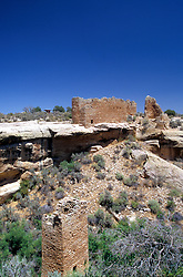 "Hovenweep National Monument ruins.  This 505-acre preservation includes six clusters of ancient Pueblo Indian ruins in the Four Corners area of southeastern Utah.  Unoccupied for more than 700 years. Name is Ute for ""deserted valley."" (No people in photograph)."