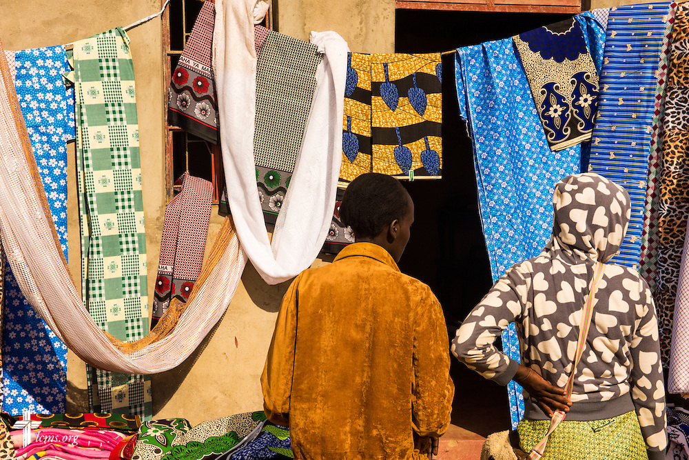 Visitors browse a marketplace in Chepareria, Kenya, near the U-Dom ELCK (Evangelical Lutheran Church in Kenya) Project 24 site on Thursday, June 23, 2016. LCMS Communications/Erik M. Lunsford