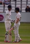 Keaton Jennings  and Mark Stoneman  (Durham County Cricket Club) celebrate after going past 50 in the second innings during the LV County Championship Div 1 match between Durham County Cricket Club and Yorkshire County Cricket Club at the Emirates Durham ICG Ground, Chester-le-Street, United Kingdom on 30 June 2015. Photo by George Ledger.