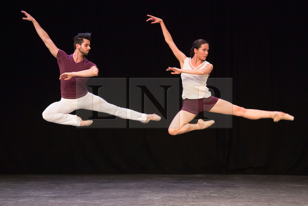 "© Licensed to London News Pictures. 07/08/2015. London, UK. Alexandra Cameron-Martin and Gyorgy Baan performing Wundarra. Members of the New English Ballet Theatre rehearse their forthcoming performances for ""Dancing for Nepal"" at the Clore Studio/Royal Opera House. From 20-22 August 2015, the New English Ballet Theatre and special guests will perform at St James Theatre to raise funds for the Nepal earthquake relief effort. Photo credit: Bettina Strenske/LNP"