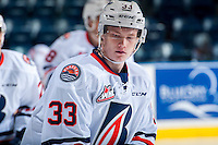 KELOWNA, CANADA - SEPTEMBER 24: Conner McDonald #33 of the Kamloops Blazers warms up against the Kelowna Rockets on September 24, 2016 at Prospera Place in Kelowna, British Columbia, Canada.  (Photo by Marissa Baecker/Shoot the Breeze)  *** Local Caption *** Conner McDonald;