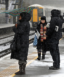 © Licensed to London News Pictures. 11/03/2013.Snow for commuters this morning as temperatures drop..Spring snow today (11,03,2013) at  Pettswood train station South East London and Kent Borders..Photo credit : Grant Falvey/LNP