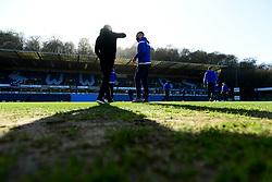 Bristol Rovers manager Ben Garner and Tareiq Holmes-Dennis of Bristol Rovers arrives at Adam's Park prior to kick off - Mandatory by-line: Ryan Hiscott/JMP - 08/02/2020 - FOOTBALL - Adam's Park - High Wycombe, England - Wycombe Wanderers v Bristol Rovers - Sky Bet League One