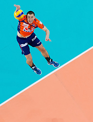 Andrej Flajs of ACH during volleyball match between ACH Volley and Lube Banca Marche Macerata (ITA) in 5th Leg of Pool D of 2013 CEV Champions League on December 5, 2012 in Arena Stozice, Ljubljana, Slovenia. ACH defeated Macerata 3-1. (Photo By Vid Ponikvar / Sportida)