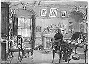 Charles Darwin (1809-1882) in his study at Down House, Beckenham, Kent. English naturalist. Evolution by Natural Selection. Engraving.