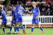 AFC Wimbledon striker Lyle Taylor (33) celebrating after scoring goal to make it 1-1 during the EFL Trophy match between AFC Wimbledon and Luton Town at the Cherry Red Records Stadium, Kingston, England on 31 October 2017. Photo by Matthew Redman.
