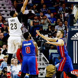 Mar 1, 2017; New Orleans, LA, USA; New Orleans Pelicans forward Anthony Davis (23) shoots over Detroit Pistons center Andre Drummond (0) and forward Jon Leuer (30) during the second quarter of a game at the Smoothie King Center. Mandatory Credit: Derick E. Hingle-USA TODAY Sports