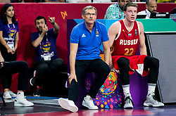 Sergey Bazarevich, head coach of Russia and Dmitrii Kulagin of Russia during basketball match between National Teams of Croatia and Russia at Day 11 in Round of 16 of the FIBA EuroBasket 2017 at Sinan Erdem Dome in Istanbul, Turkey on September 10, 2017. Photo by Vid Ponikvar / Sportida