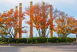 United States, Washington, Kirkland, Carillon Point with fall foliage