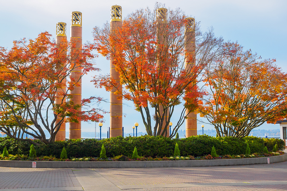 United States, Washington, Kirkland, Carillon Point with fall foliage